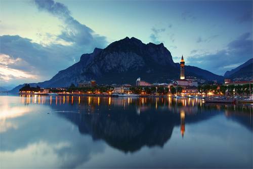 Lecco town after sunset, Lombardy, Italy