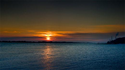 Sunset on the beach Hamburg