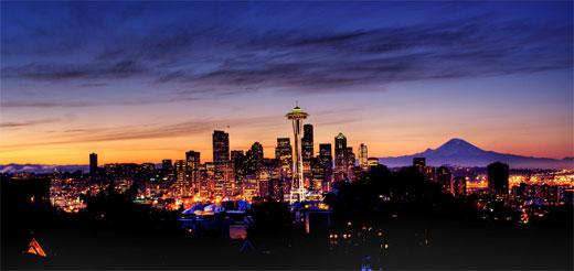 HDR Seattle Skyline At Sunrise