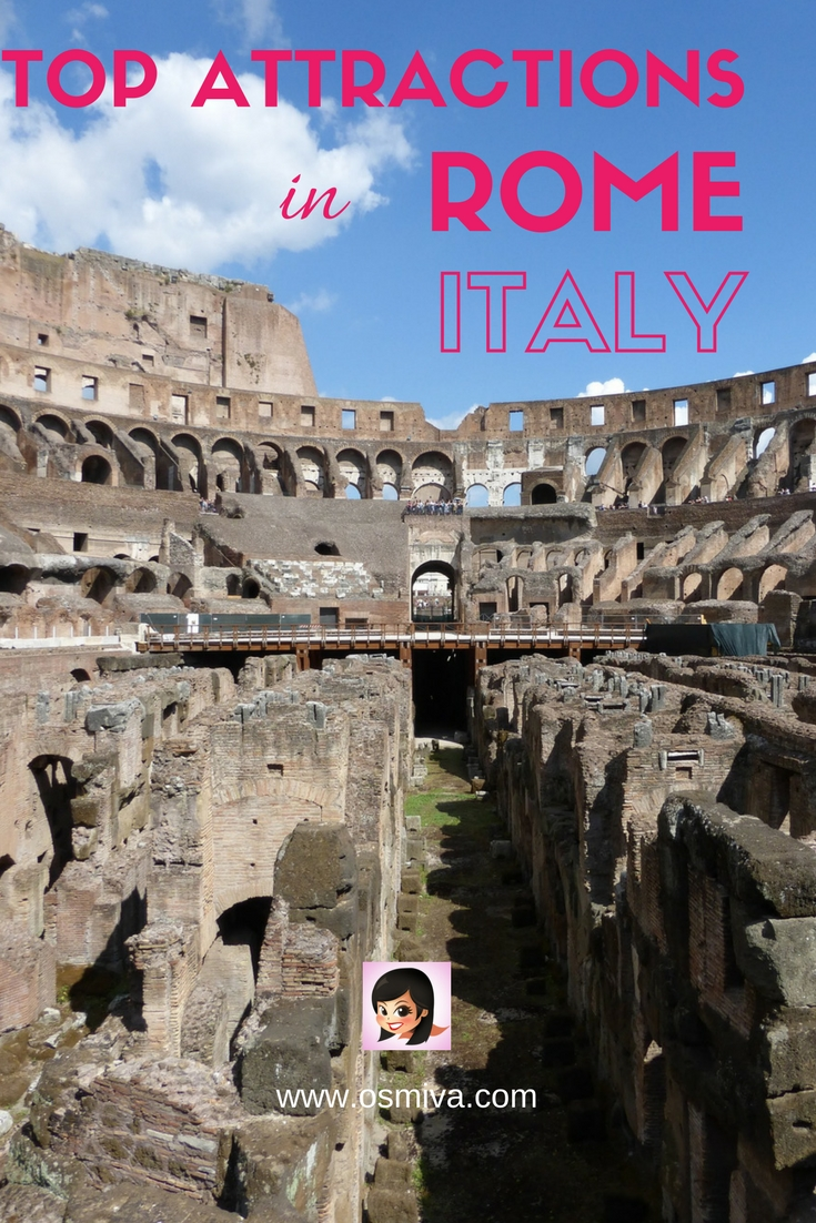 Top Attractions in Rome, Italy. List of amazing places to visit when in Rome. #romeitaly #romeattractions #osmiva