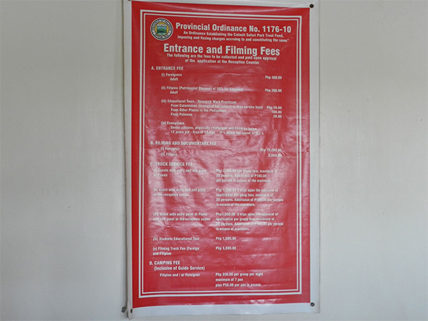 Calauit Safari Tour Entrance Fee