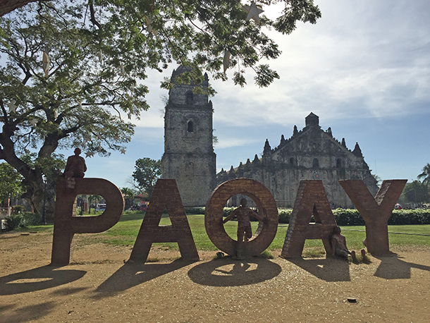 Ilocos Norte Tourist Spots: Paoay Church Marker