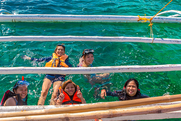 Bohol Island Hopping: Floating Inside the Boat's Outrigger