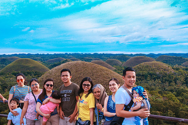 Family at the Chocolate Hills Viewing Deck