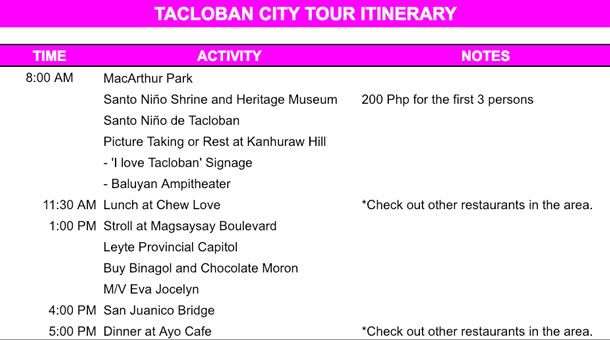Tacloban City Itinerary