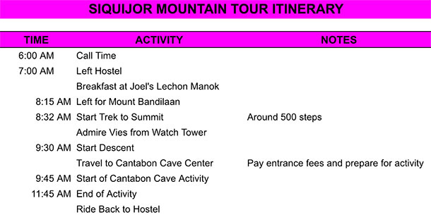 Mountain Tour Itinerary
