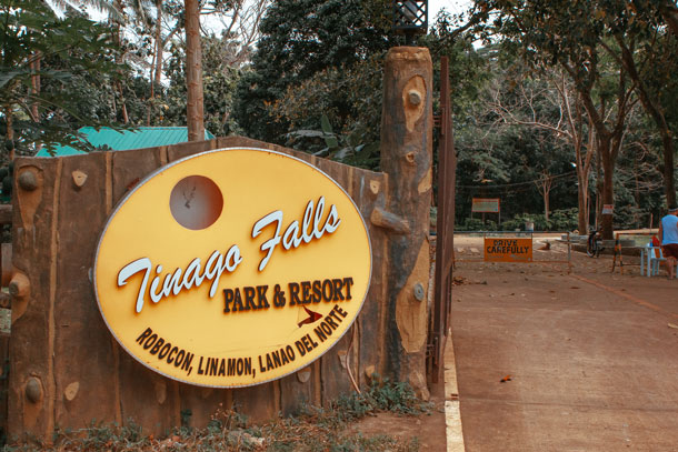 Tinago Falls Signage at the Entrance