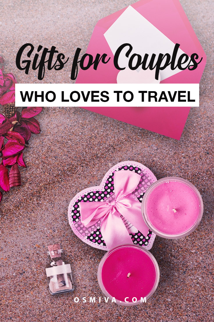 Gifts for Couples Who Love to Travel. Includes small trinkets, travel accessories for couples, travel gear, home decor and clothing to wear while on adventure! #giftsforcouples #travelgifts #giftideas #travellingcouple #osmiva