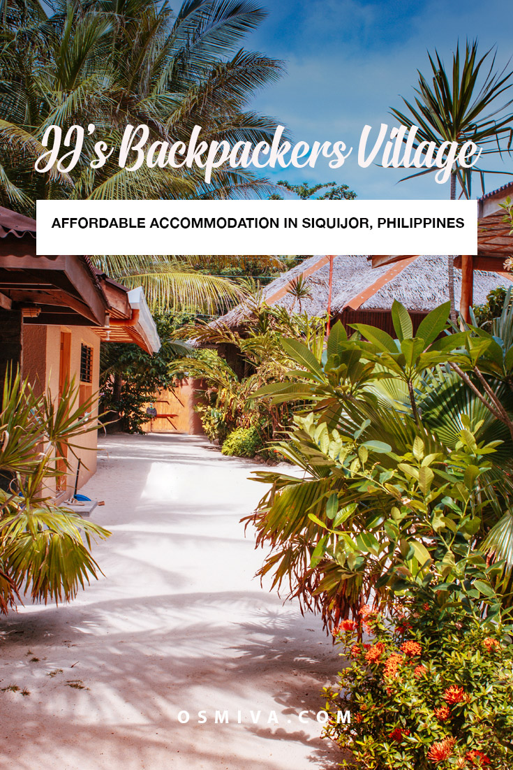 JJ's Backpackers Village: Affordable Accommodation in Siquijor, Philippines. Review of our stay at this budget hostel in Siquijor. Includes room rates of our stay, how to get here guide and the amenities that we have enjoyed. The hostel is a favourite among backpackers. #siquijoraccommodation #budgethostel #backpackersvillage #siquijorphilippines #travelaccommodation #hostelreview #osmiva