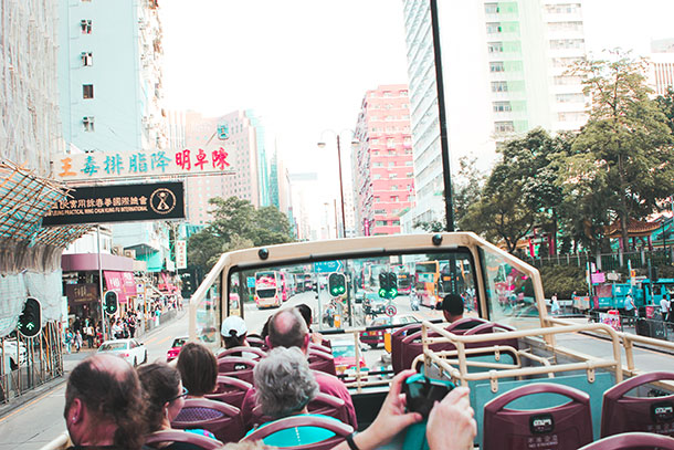 View from the Hop On Hop Off Bus Hong Kong