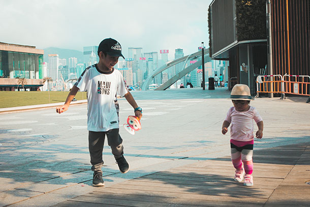 Kids at the Victoria Harbour