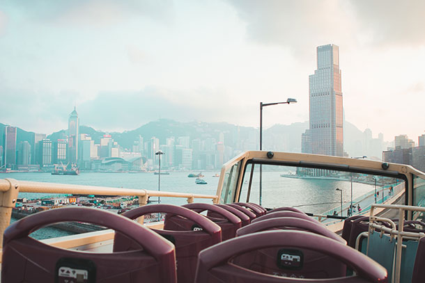 View of the Victoria Harbour from the Bus