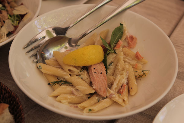 Poached Salmon Penne Pasta