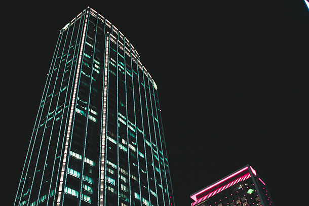 Skyscrapers Light Up in the Night