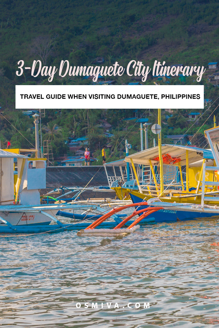 Dumaguete Itinerary: How to Visit The City in 3 Days on a Budget. Traveling to Dumaguete City in the Philippines? Spend less but see more with our 3-day itinerary! Check out how we did it with loads of tips and recommendations. #dumagetme #dumaguetecity #philippines #apoisland #manjuyodsandbar #lakebalinsasayao #lakedanao #casarorofalls #pulangbatofalls #rizalboulevard #osmiva
